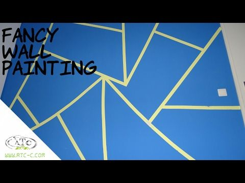 Triangle Painted Wall Design Idea With Tape How To Diy Youtube Wall Painting Wall Design Wall Paint Designs