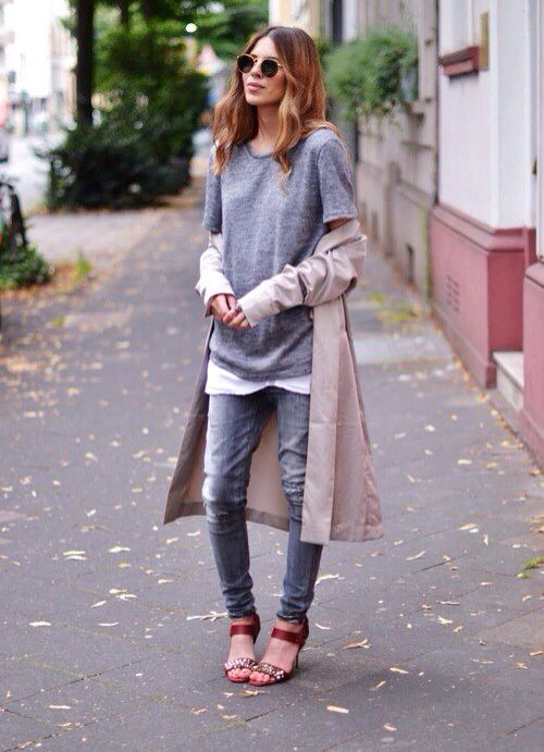 Maia Wyh // Trench Coat // Grey Tee // White Singlet // Red Shoes