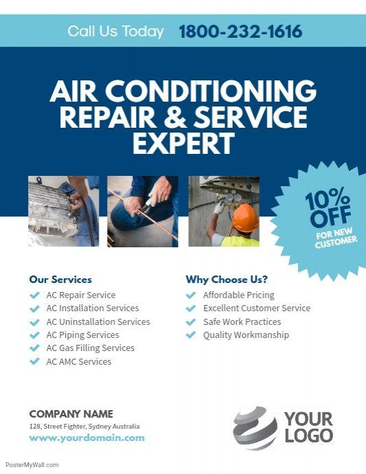 Ac Repair Services Flyer Template Ac Repair Services Ac