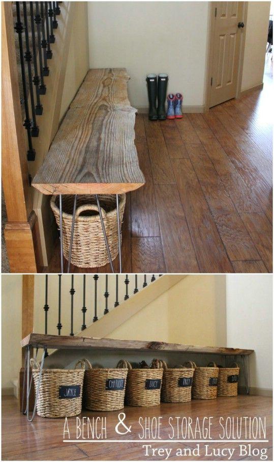 DIY Bench And Basket Storage
