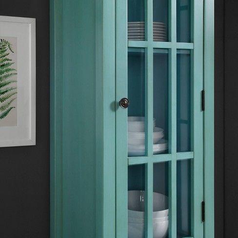 Largo Antique Glass Door Cabinet Turquoise Linon Blue Glass