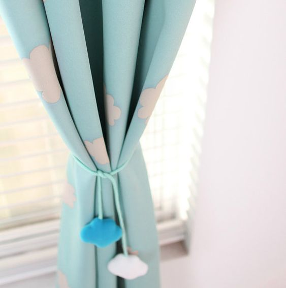 A Pair of Blue Sky Clouds Curtains. Baby Nursery Curtain Or ...