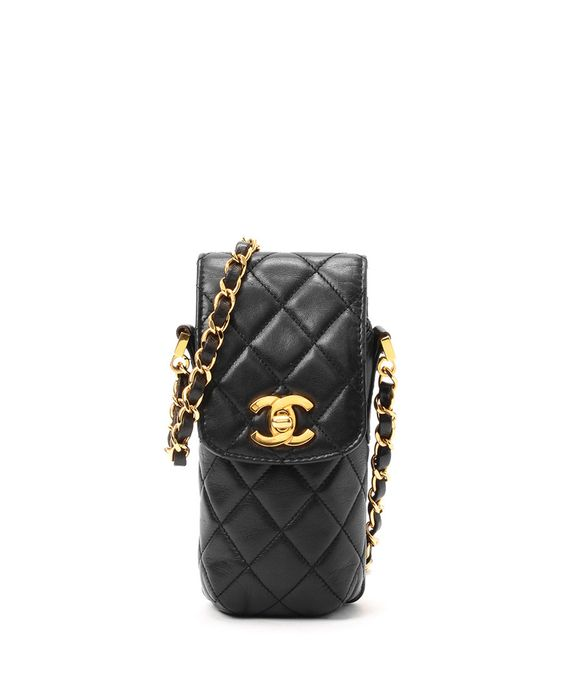Black lambskin cross-body flap-pouch by Chanel on secretsales.com