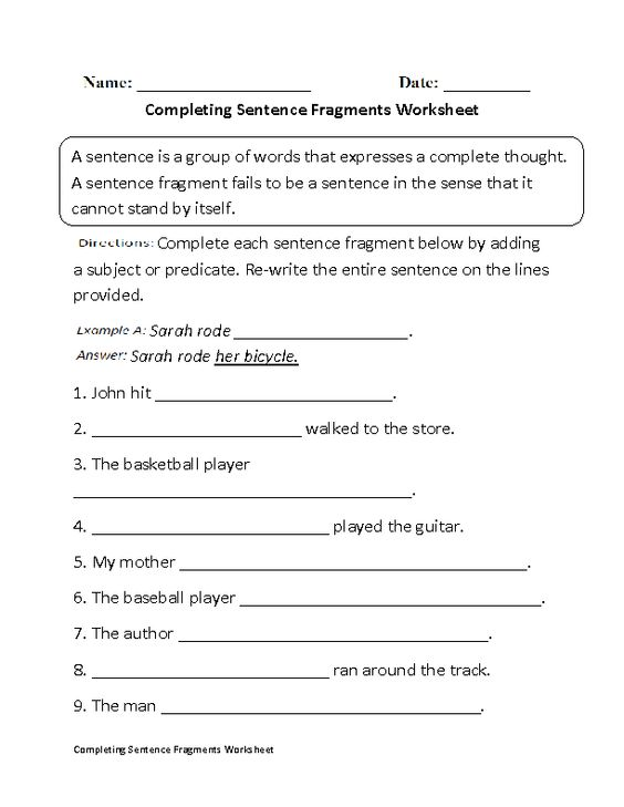 Sentences Grammar Worksheets on Fragments Runons and Types of – Sentence or Fragment Worksheet
