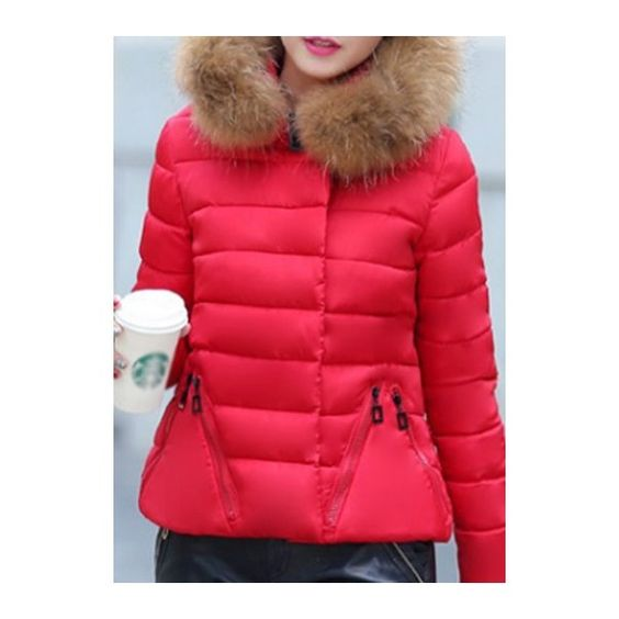Hooded Collar Zipper Closure Red Pocket Down Jacket featuring polyvore, women's fashion, clothing, outerwear, jackets, red, red hooded jacket, red cotton jacket, hooded down jacket, down filled jackets and hooded zip jacket