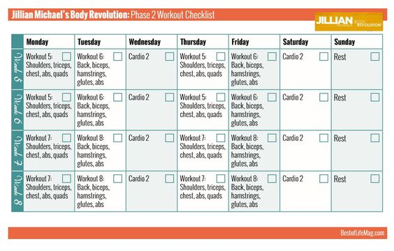 Jillian Michaels Workout Rotation Phase 2 Body Revolution Checklist