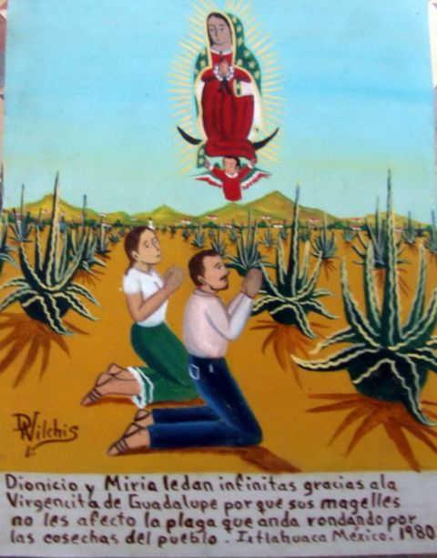 Dionicio  Miria give their infinite thanks to the virgin because their maguey plants were not affected by a local plant pestilence. via ~  www.tataya.com.mx » Alfredo Vilchis