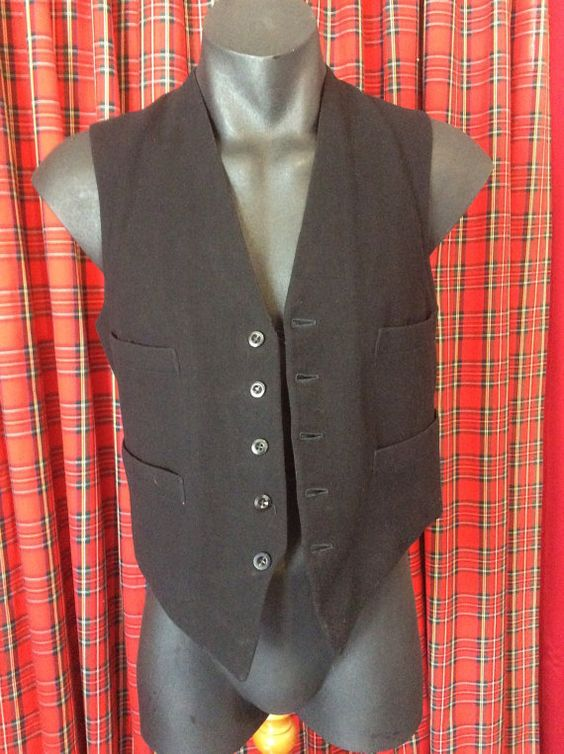 1920s formal waistcoat single breasted 37 chest 34 by DandyBear