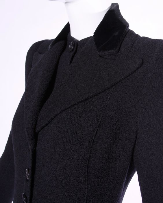 Elegant Vintage 1940s 40s Black Wool Princess Coat with Bold Shoulders | From a collection of rare vintage coats and outerwear at https://www.1stdibs.com/fashion/clothing/coats-outerwear/