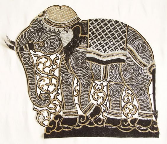 Thai art carving on leather collage pinterest
