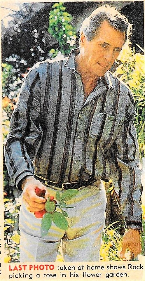 Rock Hudson In His Rose Garden The Last Picture That Was Taken Rock Hudson Rock Baby Historical People