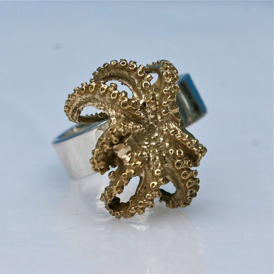 Beautiful Sterling silver and Brass octopus ring size 7 by Zulasurfing mothers day gift