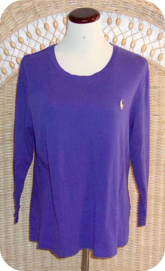 RALPH LAUREN SPORT Womens Top Size XL Purple 3/4 Sleeve Cotton #RalphLauren #KnitTop #CareerCasual
