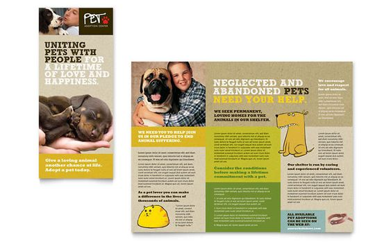 Animal Shelter And Pet Adoption Tri Fold Brochure Design Template