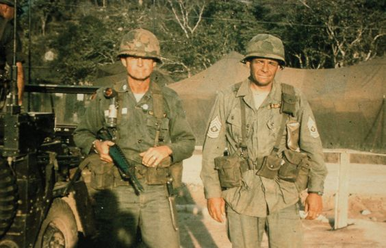 LTC Hal Moore and Sgt. Major Basil Plumley, the day they returned from the Ia Drang battle, 1965. - Vietnam War