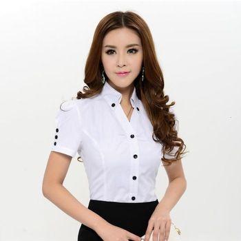 Nueva llegada 2015 primavera verano moda blanco blusas mujeres camisas de manga corta para Formal para