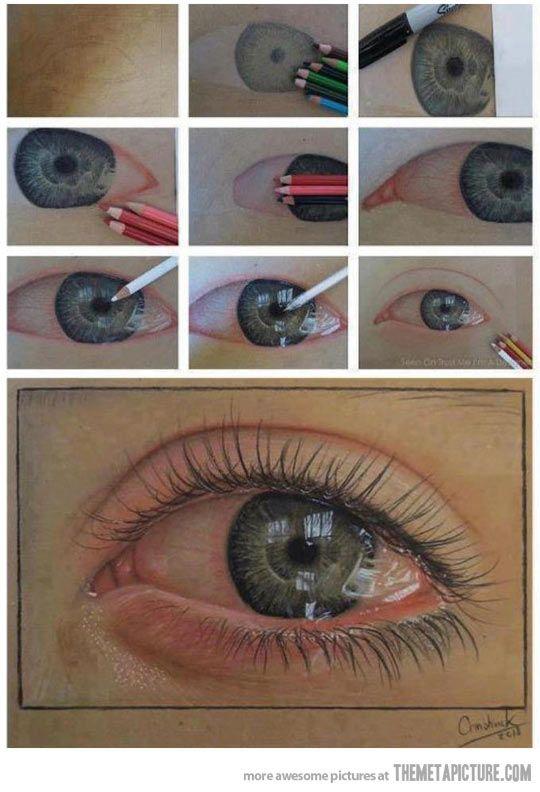 Proceso de ojo realista con l pices de colores podemos for Como pintar un ojo