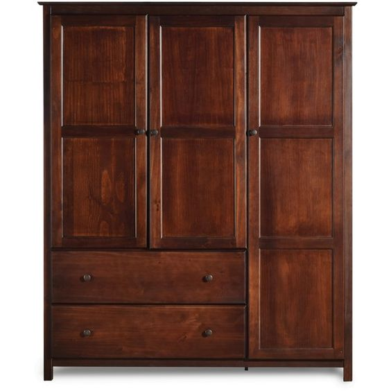 Grain Wood Furniture Shaker Solid Wood Cherry Finish 3-door Wardrobe ($754) ❤ liked on Polyvore featuring home, furniture, storage & shelves, armoires, wood display shelf, display shelves, wood computer armoire, wooden display shelf and wooden display shelves