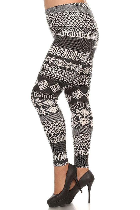 Women's Plus Tribal and Stripe Pattern Print Leggings - Black White