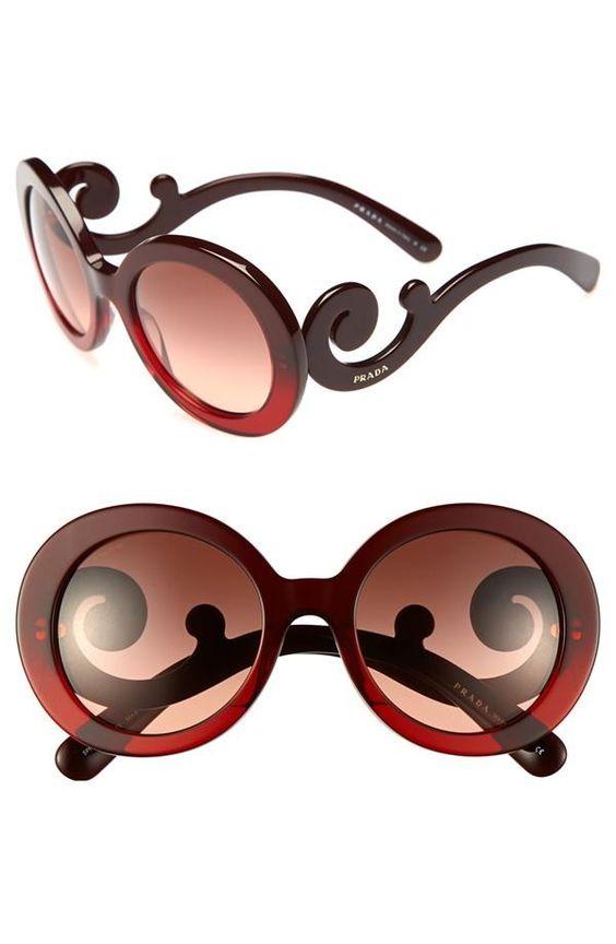 womens prada baroque 55mm round sunglasses baroque