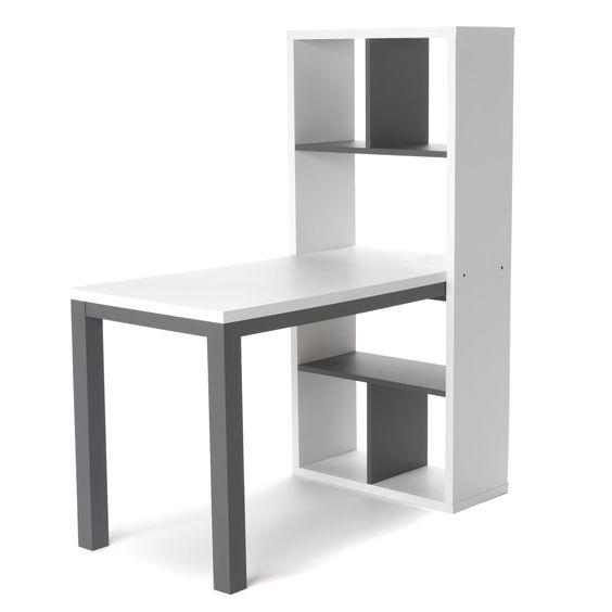 bureau avec rangements blanc et gris finca les bureaux adultes bureaux et siges - Bureau Chambre Adulte