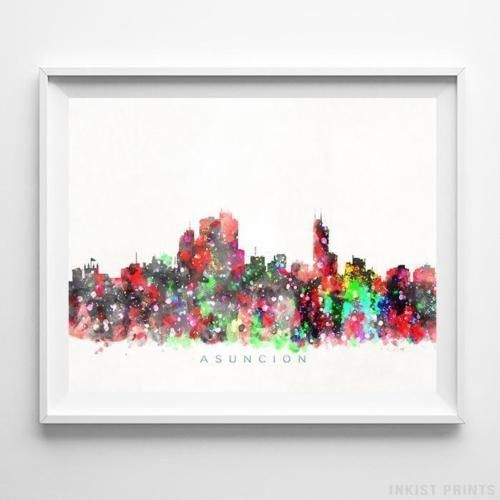 Moscow Russia Watercolor Skyline Wall Art Home Decor Poster UNFRAMED