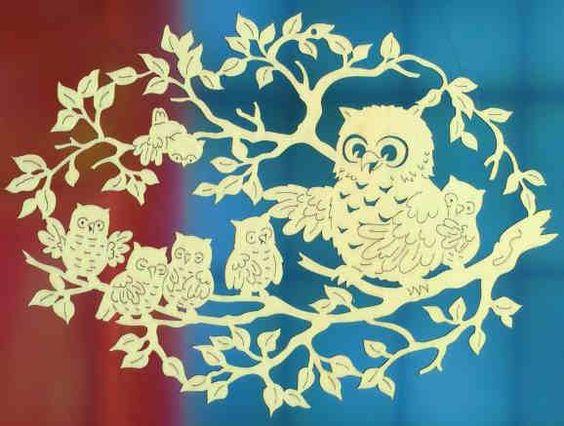 """Deko Fensterbild """"Eulenfamilie"""" aus Pappelsperrholz"""