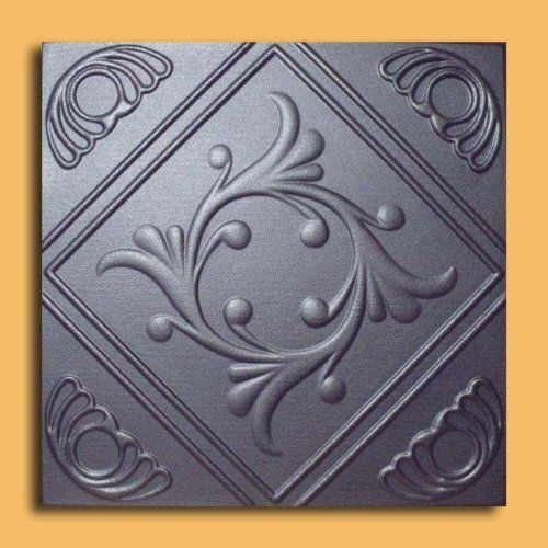 """Anet Silver (20""""x20"""" Foam) Ceiling Tile by Antique Ceilings. $3.00. Can be installed right over Pop Corn ceiling. Easy to install - with most any Mastic ceramic tile adhesive. Made from high quality Polystyrene foam. Tin like look from a modern material. Can be painted with most any water or latex based paints. The ceiling tiles and panels are made of uniform extruded polystyrene foam. With this technology, it is possible to obtain smooth and even surface. They wil..."""