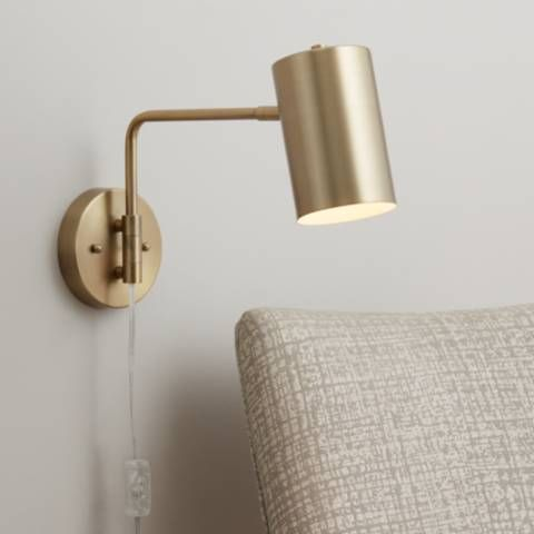 Carla Brushed Brass 12 High Down Light Swing Arm Wall Lamp 39w58 Lamps Plus Swing Arm Wall Lamps Wall Lamps Bedroom Plug In Wall Lights