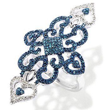 JewelryDiamond Treasures® Sterling Silver 0.20ctw Blue & White Diamond North-South Ring