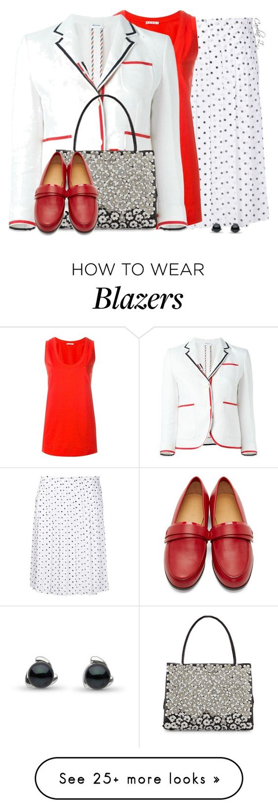 """Red Flats"" by carolinez1 on Polyvore featuring Theory, Marni, Thom Browne, Nancy Gonzalez and Carritz"