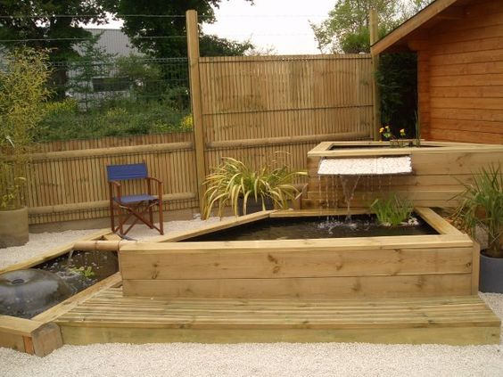 Bassin et fontaine int gr e jardin pinterest for Bassin exterieur zen