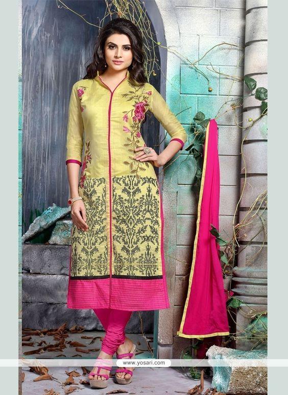 Delightful Embroidered Work Yellow Churidar Designer Suit Model: YOS6846