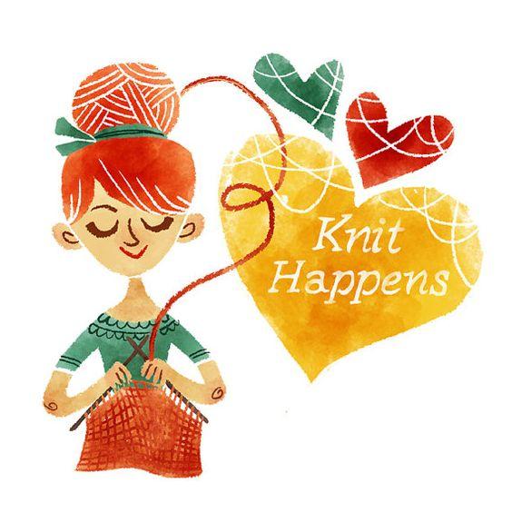 Knit Happens Printable Art print INSTANT DOWNLOAD Digital Illustration Knitting Crotchet Crafting by Govango
