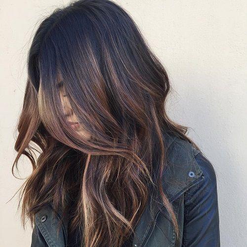 Black Hair With Brown Balayage Highlights