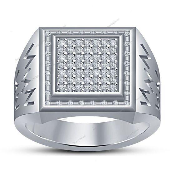 14Kt White Gold Finish 925 Silver Simulated Diamond Pave Set Men's Wedding Ring #Bacio2jewel #MensThreeRowBand #WeddingEngagementAnniversaryGift