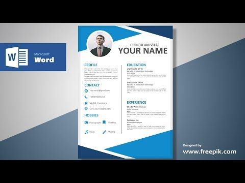 Awesome Blue Resume Design Tutorial In Microsoft Word Silent Version Cv Designing Youtube Resume Design Clean Resume Design Resume Template