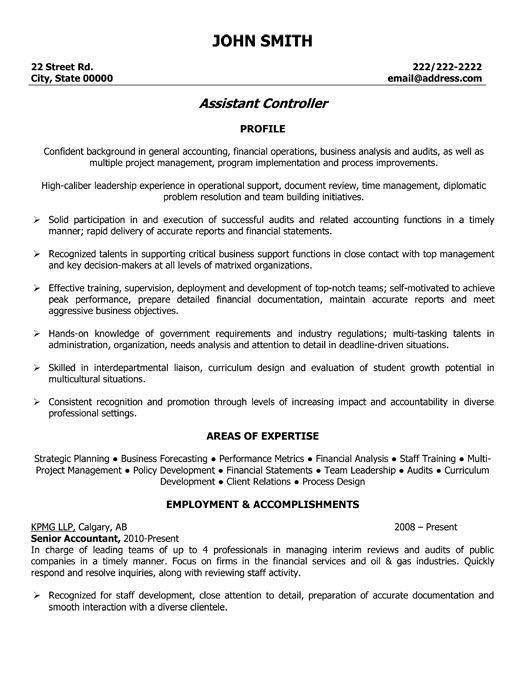Click Here To Download This Assistant Controller Resume Template Http Www Resumetemplates101 Com Accounting Resume Examples Resume Resume Template Examples