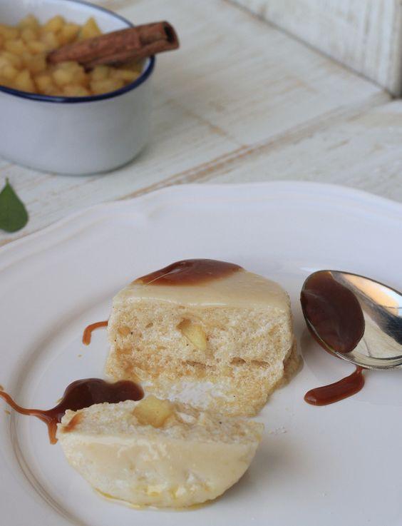 suflê de maçã com calda de caramelo