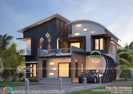 Stunning Ultra Modern 4 Bhk Kerala House Plan Kerala House Design Modern House Plans Small House Elevation Design