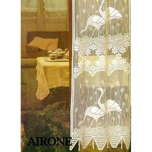 Tende tendaggi : Tenda in FILET ricamata A MANO made in Italy AIRONE
