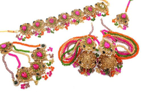 hot pink traditional antique gold set indian pakistani party bridal jewellery