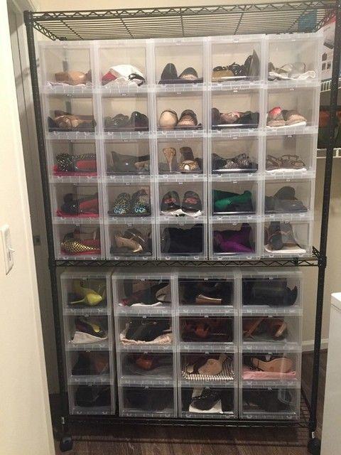 Pin by Regina Elders on Closets | Drop front shoe box, Shoe