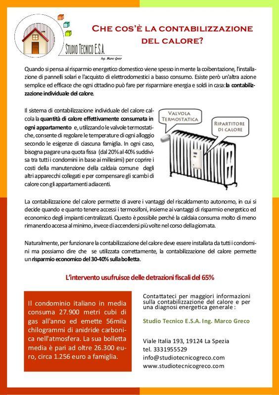 La Contabilizzazione del Calore by Studio Tecnico E.S.A. Ing. Marco Greco  www.studiotecnicogreco.com