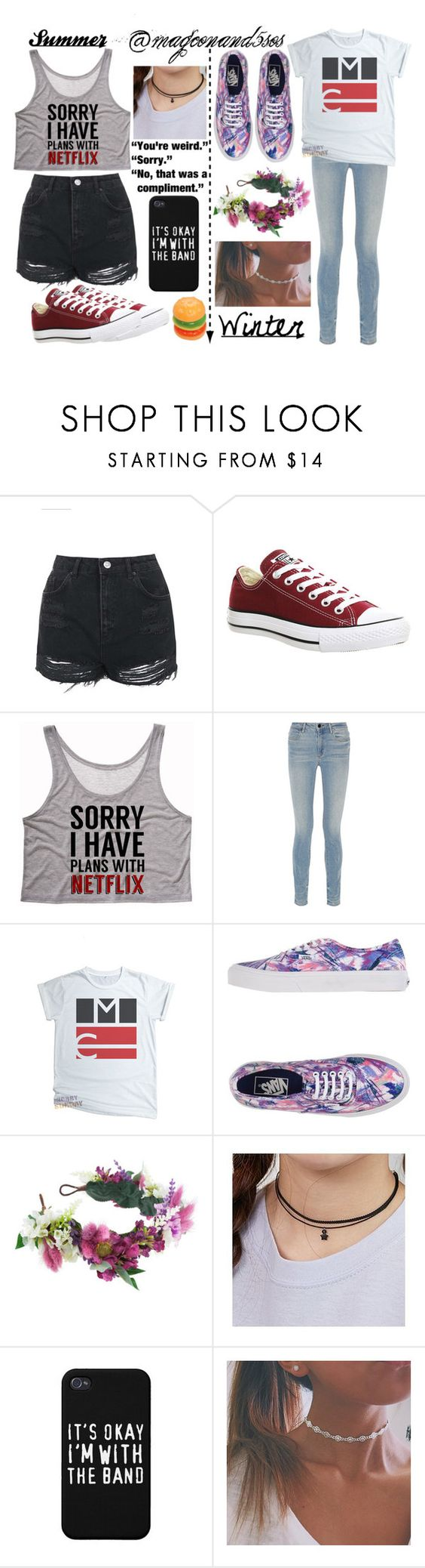 """For @magconand5sos!! Hope ya like it!!"" by kristinberchak ❤ liked on Polyvore featuring beauty, Topshop, Converse, Alexander Wang, Vans, Rock 'N Rose and FROMBEGINNING"