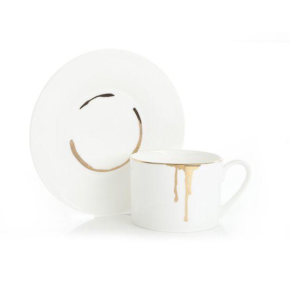 Reiko Kaneko Drip Tease Cup & Saucer, Gold