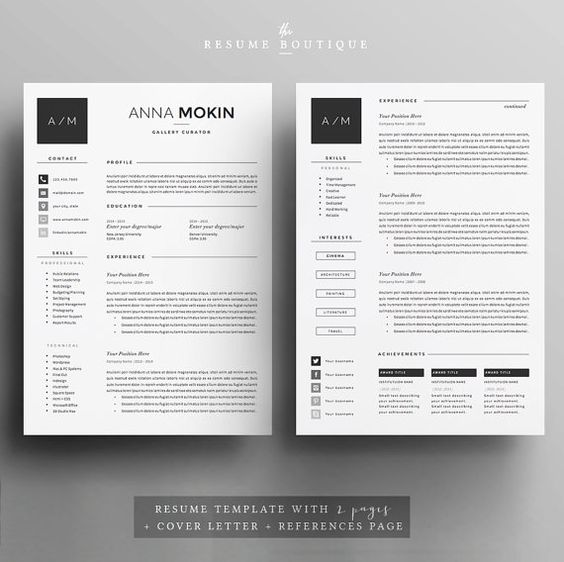 4page Resume   CV Template Cover Letter by TheResumeBoutique - resume references page