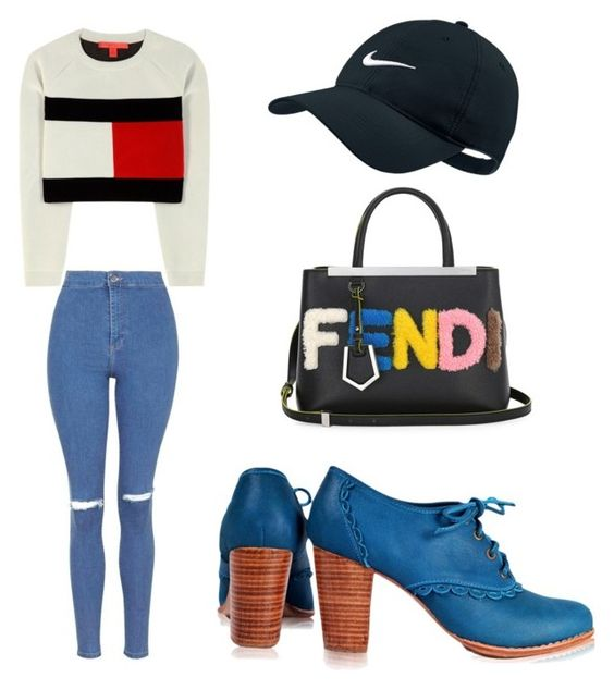 """""""Messy but cute"""" by madddgalriri ❤ liked on Polyvore featuring мода, Topshop, Tommy Hilfiger, NIKE и Fendi"""