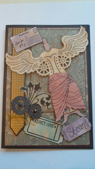 Steampunk inspired card, using creative expressions mask.