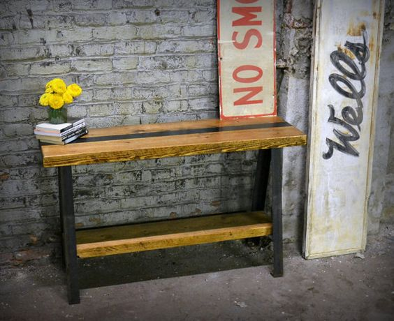 Salvaged Wood and Recycled Iron A-Frame Console